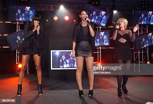 Heidi Range Jade Ewen and Amelle Berrabah of The Sugababes perform at the launch party for The Hilton Liverpool on January 28 2010 in Liverpool...