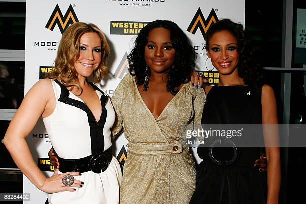 Heidi Range Keisha Buchanan and Amelle Berrabah of the Sugababes arrive at the MOBO Awards 2008 held at Wembley Arena on October 15 2008 in London...