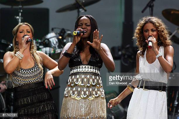 Heidi Range Keisha Buchanan and Amelle Berrabah of the Sugababes perform during the 46664 concert in celebration of Nelson Mandela's life at Hyde...
