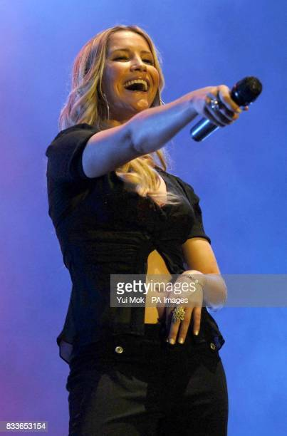 Heidi Range of the Sugababes perform in concert as part of the Dock Rock series of gigs from Canary Wharf east London