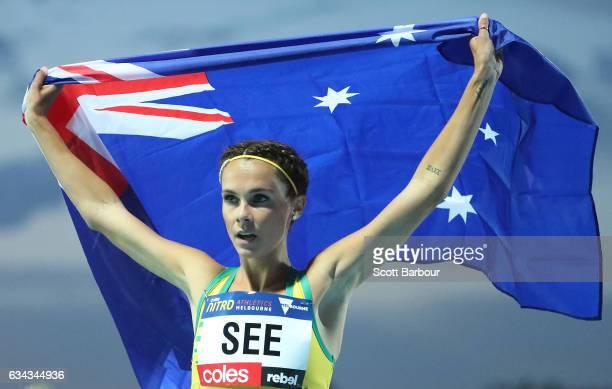 Heidi See of Australia celebrates winning the Women 1 Mile Run Elimination during the 2017 Nitro Athletics Series at Lakeside Stadium on February 9...