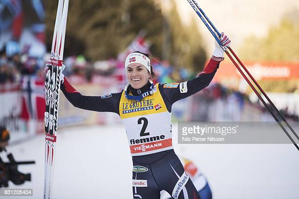 Heidi Weng celebrates after the victory during the women's 9 km F Pursuit on January 8 2017 in Val di Fiemme Italy