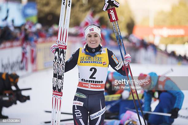 Heidi Weng of Norway celebrates after the victory during the women's 9 km F Pursuit on January 8 2017 in Val di Fiemme Italy