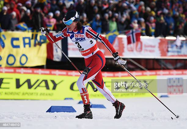 Heidi Weng of Norway competes during the Women's 30km Mass Start CrossCountry during the FIS Nordic World Ski Championships at the Lugnet venue on...