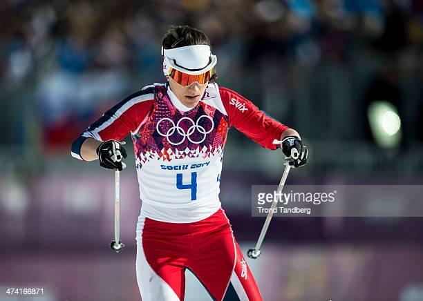 Heidi Weng of Norway Ladies' 30 km Mass Start Free Day 15 of the Sochi 2014 Winter Olympics at Laura Crosscountry Ski Biathlon Center on February 22...