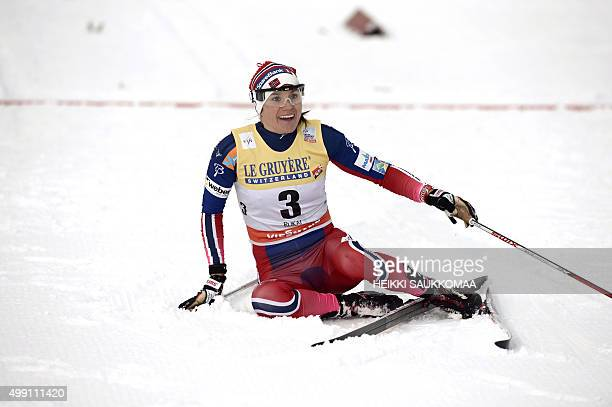 Heidi Weng of Norway reacts as she mistakenly crossed the finishline one round too early during the Ladies 10km Pursuit Classic at the FIS cross...