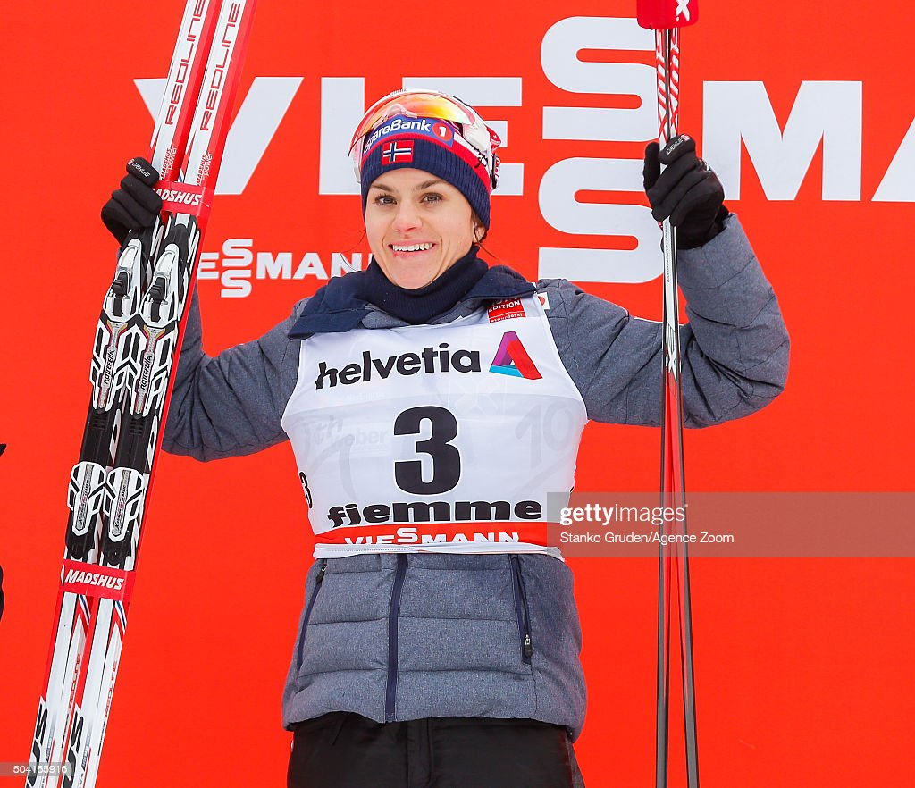 <a gi-track='captionPersonalityLinkClicked' href=/galleries/search?phrase=Heidi+Weng&family=editorial&specificpeople=8660218 ng-click='$event.stopPropagation()'>Heidi Weng</a> of Norway takes 1st place during the FIS Nordic World Cup Men's and Women's Cross Country Tour de Ski on January 9, 2016 in Val di Fiemme, Italy.