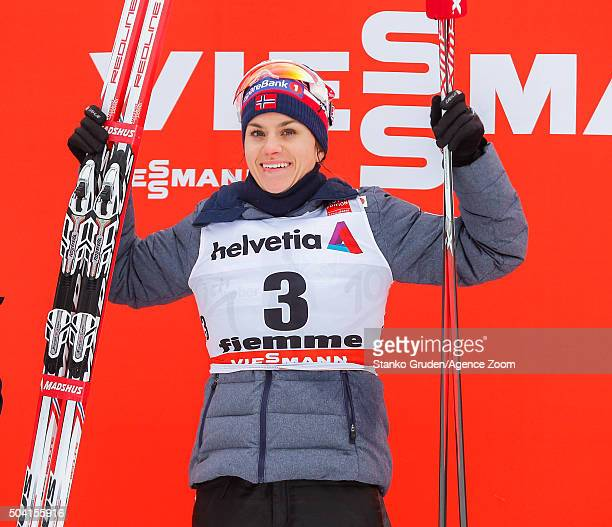 Heidi Weng of Norway takes 1st place during the FIS Nordic World Cup Men's and Women's Cross Country Tour de Ski on January 9 2016 in Val di Fiemme...
