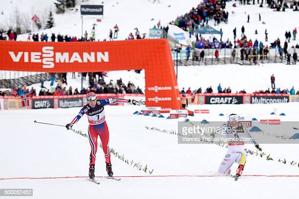 Heidi Weng of Norway takes 2nd place Charlotte Kalla of Sweden takes 3rd place during the FIS Nordic World Cup Men's and Women's Cross Country...