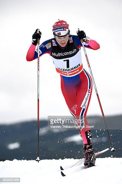 Heidi Weng of Norway takes 2nd place during the FIS Nordic World Cup Men's and Women's Cross Country Skiathlon on December 05 2015 in Lillehammer...