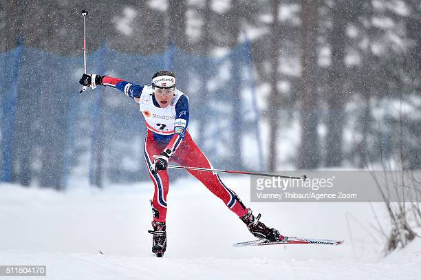 Heidi Weng of Norway takes 2nd place during the FIS Nordic World Cup Men's and Women's Cross Country Skiathlon on February 21 2016 in Lahti Finland