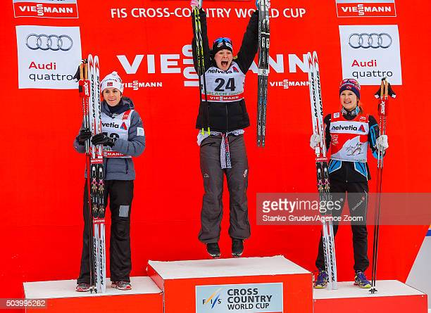 Heidi Weng of Norway takes 2nd place Jessica Diggins of the USA takes 1st place Ingvild Flugstad Oestberg of Norway takes 3rd place during the FIS...