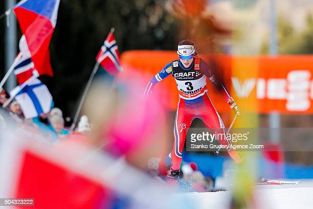 Heidi Weng of Norway takes 3rd place during the FIS Nordic World Cup Men's and Women's Cross Country Tour de Ski on January 10 2016 in Val di Fiemme...