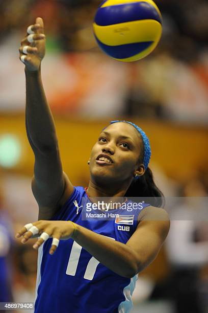 Heidy Casanova Alvarez of Cuba in warm up before the match between Cuba and Peru during the FIVB Women's Volleyball World Cup Japan 2015 at Park...