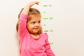 Funny girl is measuring her height with painted graduations on the wall with her hand