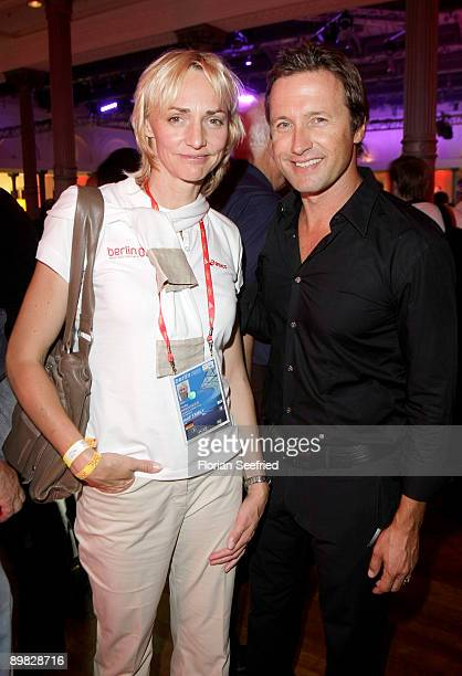 Heike Drechsler and Norbert Dobeleit attend the Athletics World Championships Media Night at the 'DLV WM Club' at Telekom Representation on August 16...
