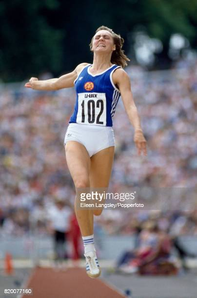 Heike Drechsler of East Germany in long jump action during an athletics meet at Crystal Palace in London circa August 1983