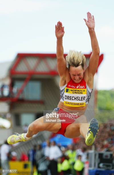 Heike Drechsler of Germany in action in the Long Jump at the Norwich Union British Grand Prix at the International Stadium on June 27 in Gateshead...