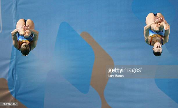 Heike Fischer and Ditte Kotzian of Germany in action during the Women's 3m Synchro Springboard Preliminary round during day six of the 29th LEN...