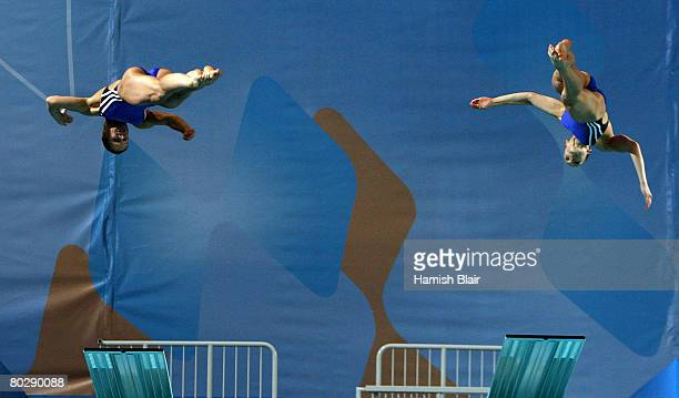 Heike Fischer and Ditte Kotzian of Germany in action during the Women's 3m Syncro Springboard during day six of the 29th LEN European Championships...
