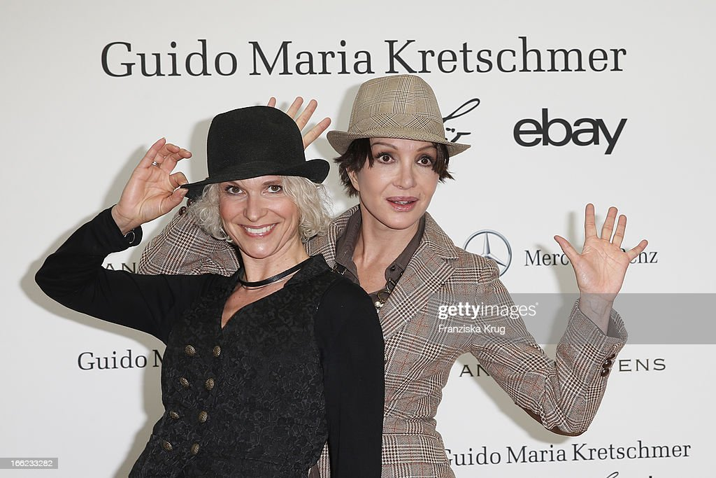 Heike Kloss and Anouschka Renzi attend the Guido Maria Kretschmer For eBay Collection Launch at Label 2 on April 10, 2013 in Berlin, Germany.