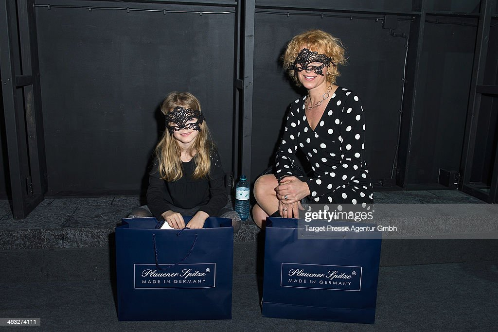 Heike Kloss and her daughter Olivia arrive to the Irene Luft show during Mercedes-Benz Fashion Week Autumn/Winter 2014/15 at Brandenburg Gate on January 17, 2014 in Berlin, Germany.