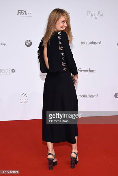 Heike Makatsch arrives for the German Film Award 2015 Lola at Messe Berlin on June 19 2015 in Berlin Germany
