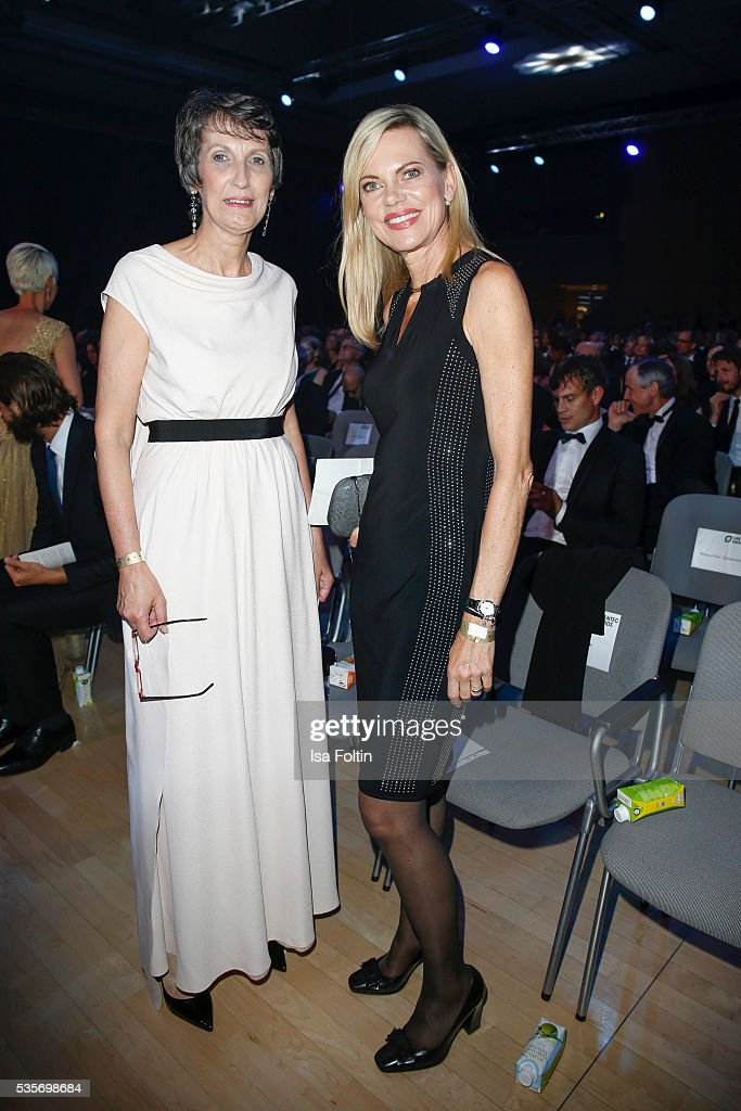 Heike Schiffler and Nina Ruge (Dress by Joseph Ribkoff) attend the Green Tec Award at ICM Munich on May 29, 2016 in Munich, Germany.