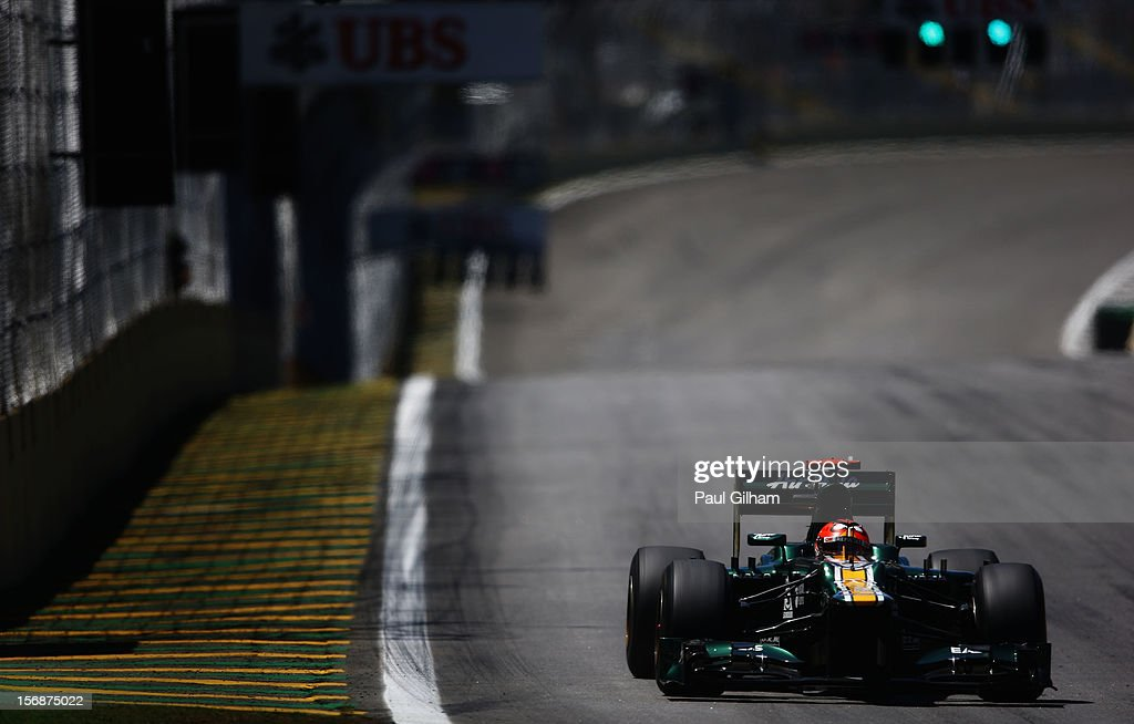 Heikki Kovalainen of Finland and Caterham drives during practice for the Brazilian Formula One Grand Prix at the Autodromo Jose Carlos Pace on November 23, 2012 in Sao Paulo, Brazil.
