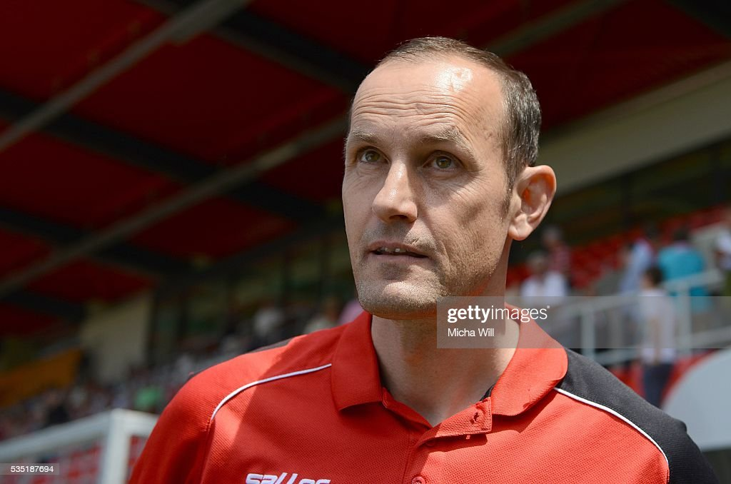 <a gi-track='captionPersonalityLinkClicked' href=/galleries/search?phrase=Heiko+Herrlich&family=editorial&specificpeople=2303748 ng-click='$event.stopPropagation()'>Heiko Herrlich</a>, head coach of Regensburg looks on prior to the Third League play off second leg match between Jahn Regensburg and VfL Wolfsburg II at Continental Arena on May 29, 2016 in Regensburg, Germany.