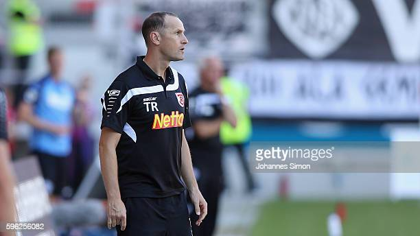 Heiko Herrlich head coach of Regensburg reacts during the the Third League match between Jahn Regensburg and VfR Aalen at Continental Arena on August...