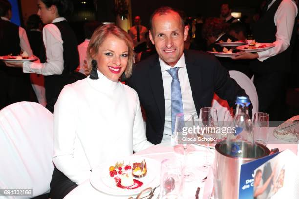 Heiko Herrlich soccer coach Bayer 04 Leverkusen and his partner Anita Wagner during the Toni Kroos charity gala benefit to the Toni Kroos Foundation...