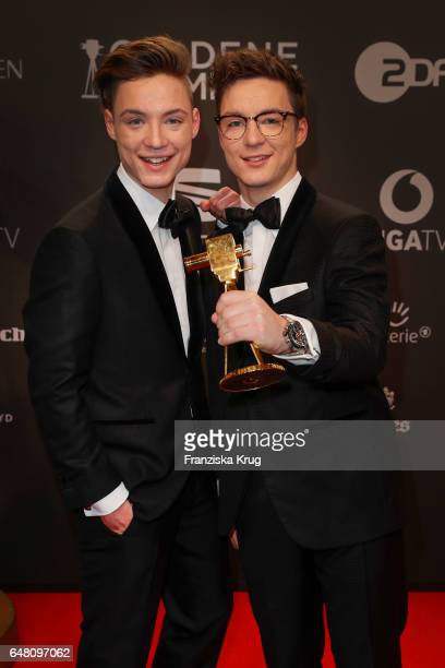 Heiko Lochman and his twin brother Roman of Die Lochis arrive for the Goldene Kamera on March 4 2017 in Hamburg Germany