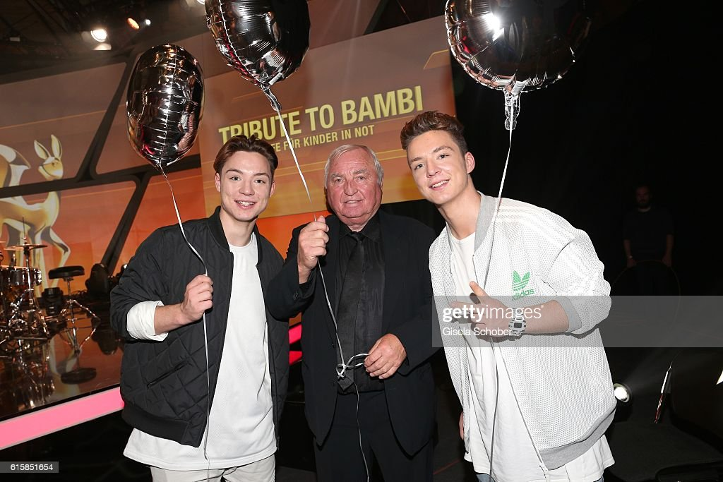 Heiko Lochmann and his twin brother Roman Lochmann (R) (Die Lochis)and Ulli Wegner (C) during the Tribute To Bambi after show party at Station on October 6, 2016 in Berlin, Germany.