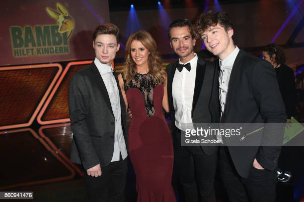 Heiko Lochmann Mareile Hoeppner Florian Silbereisen and Roman Lochmann die Lochis during the 'Tribute To Bambi' gala at Station on October 5 2017 in...