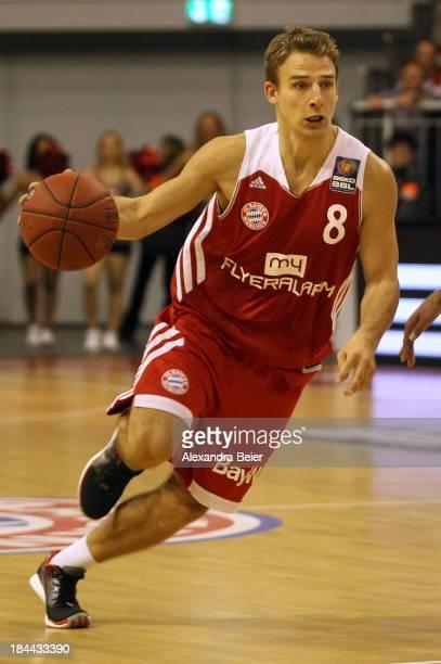 Heiko Schaffartzik of Bayern Muenchen dribbles the ball during the Basketball Bundesliga match between FC Bayern Muenchen and medi Bayreuth at...