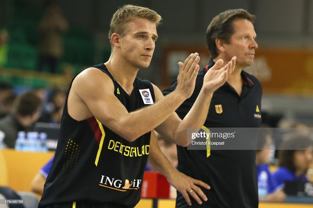 Heiko Schaffartzik of Gemany applauds his team during the FIBA European Championships 2013 first round group A match between France and Germany at Tivoli Arena on September 4, 2013 in Ljubljana, Slovenia. The match betweenFrance and Germany ended 74-80.