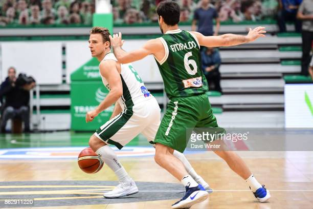 Heiko Schaffartzik of Nanterre and Bruno Fitipaldo of Sidigas Avellino during the Basketball Champions League match between Nanterre 92 and Sidigas...