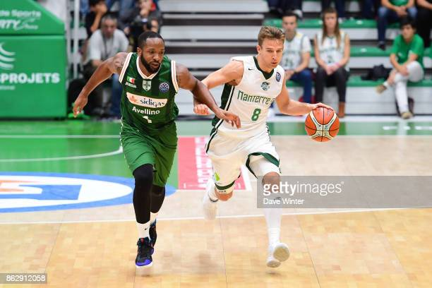 Heiko Schaffartzik of Nanterre and Dez Wells of Sidigas Avellino during the Basketball Champions League match between Nanterre 92 and Sidigas...