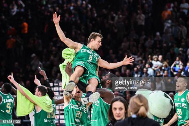 Heiko Schaffartzik of Nanterre looks happy during the Final of the French Cup between Le Mans and JSF Nanterre at AccorHotels Arena on April 22 2017...