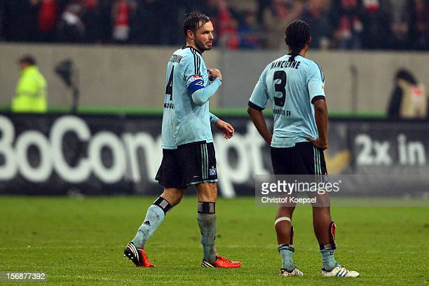 Heiko Westermann and Michael Mancienne of Hamburg look dejected after the Bundesliga match between Fortuna Duesseldorf and Hamburger SV at...
