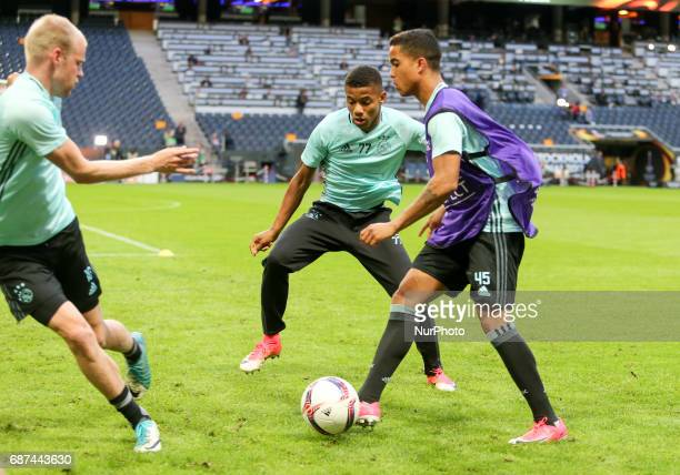 Heiko Westermann David Neres Justin Kluivert of Ajax team during a training session at The Friends Arena ahead of the UEFA Europa League Final...