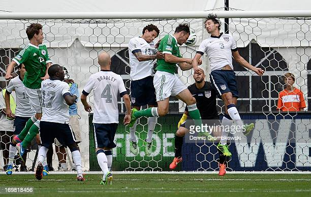 Heiko Westermann of Germany scores a header from a corner kick during the International Friendly match between Germany and the United States at the...