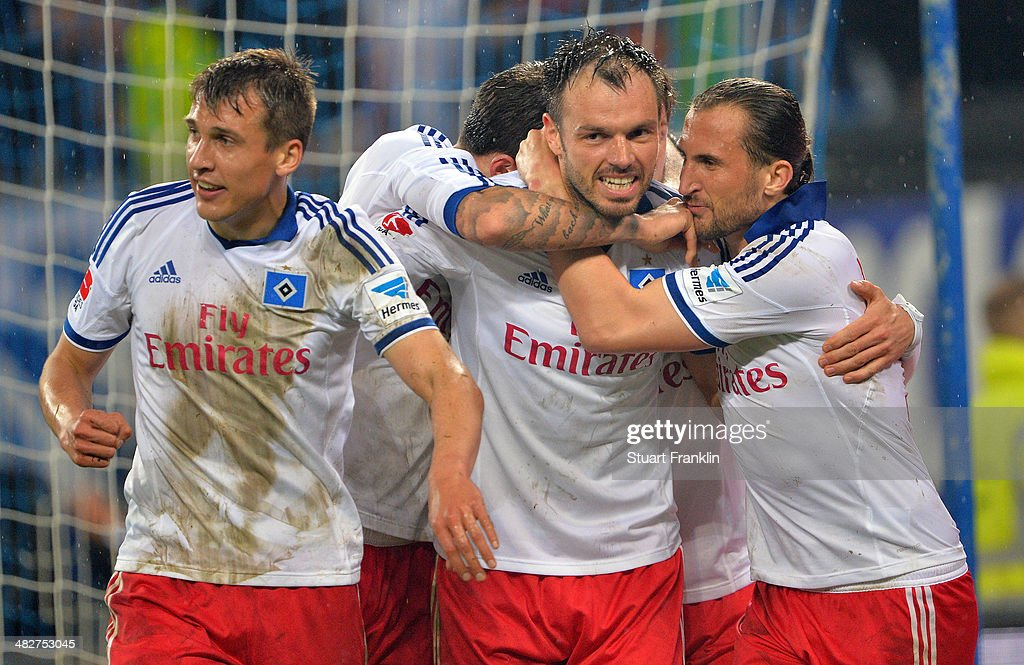 <a gi-track='captionPersonalityLinkClicked' href=/galleries/search?phrase=Heiko+Westermann&family=editorial&specificpeople=623650 ng-click='$event.stopPropagation()'>Heiko Westermann</a> of Hamburg celebrates scoring his goal during the Bundesliga match between Hamburger SV and Bayer Leverkusen at Imtech Arena on April 4, 2014 in Hamburg, Germany.