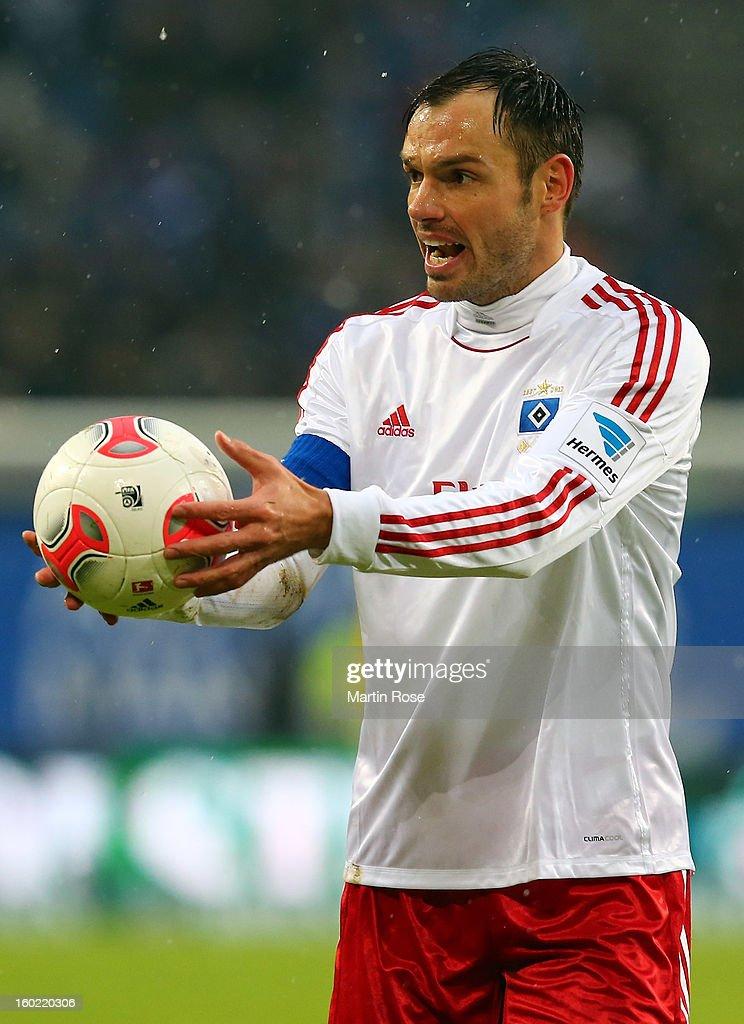 Heiko Westermann of Hamburg gestures during the Bundesliga match between Hamburger SV and SV Werder Bremen at Imtech Arena on January 27, 2013 in Hamburg, Germany.