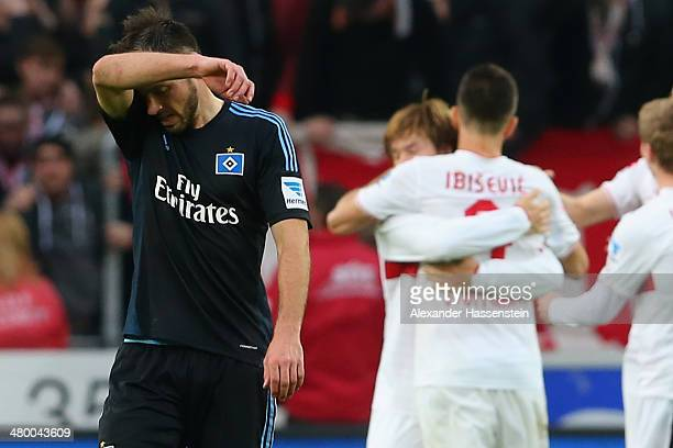 Heiko Westermann of Hamburg reacts after the Bundesliga match between VfB Stuttgart and Hamburger SV at MercedesBenz Arena on March 22 2014 in...