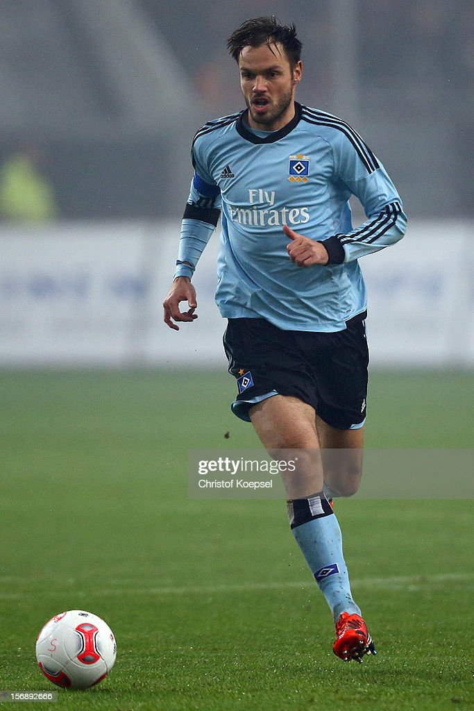 Heiko Westermann of Hamburg runs with the ball during the Bundesliga match between Fortuna Duesseldorf and Hamburger SV at Esprit-Arena on November 23, 2012 in Duesseldorf, Germany.