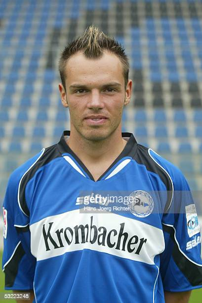 Heiko Westermann poses during the Team presentation of Arminia Bielefeld for the Bundesliga season 2005 2006 on June 29 2005 in Bielefeld Germany