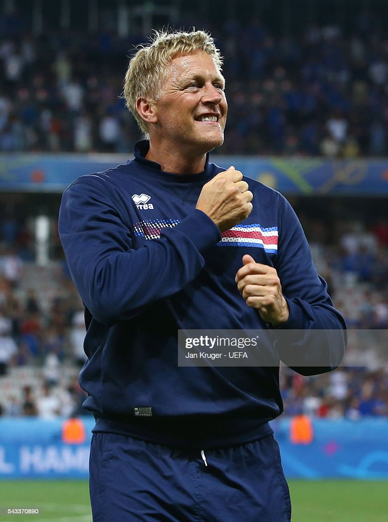 Heimir Hallgrimsson head coach of Iceland celebrates his team's 2-1 win in the UEFA EURO 2016 round of 16 match between England and Iceland at Allianz Riviera Stadium on June 27, 2016 in Nice, France.