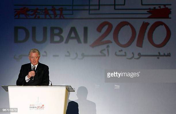 Hein Verbruggen Chairman of the International Olympic Committee addresses the 8th Annual SportAccord International Convention in Dubai on April 27...